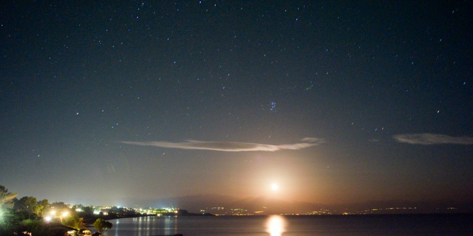 A Stary Fullmoon Night at Limanaki - Koroni Night Sky