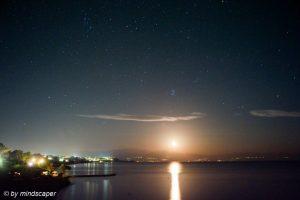 A Stary Fullmoon Night at Limanaki - Koroni Night Sky