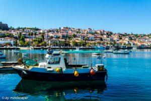Fisherboats with Koroni Skyline - Sea Stroy
