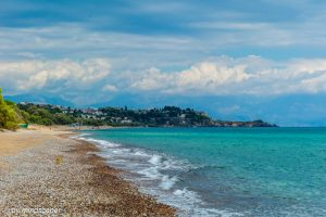 Zanga Beach with Turquoise Sea on a Cloud Day - Koroni Beaches