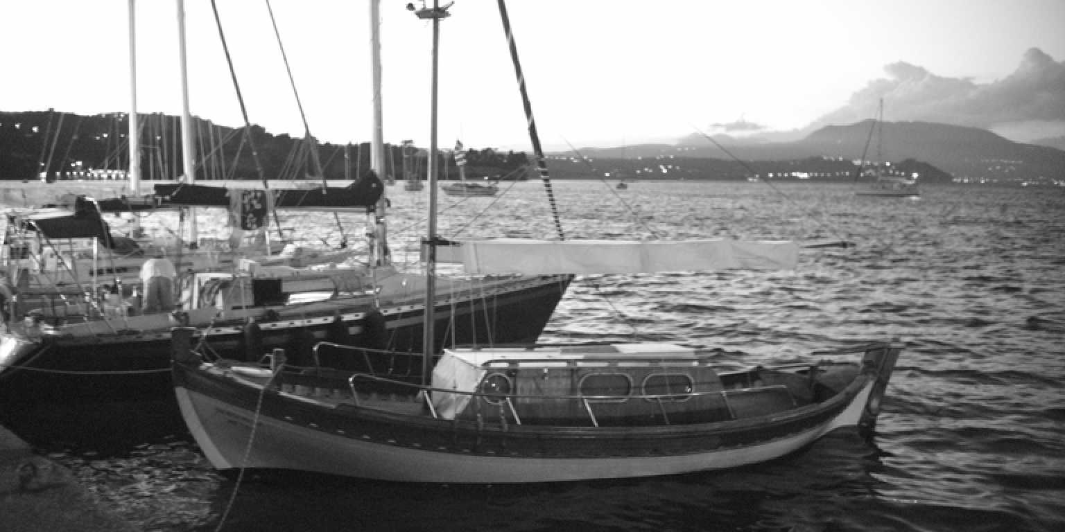 Sailingboats in Koroni Harbour - Black & White