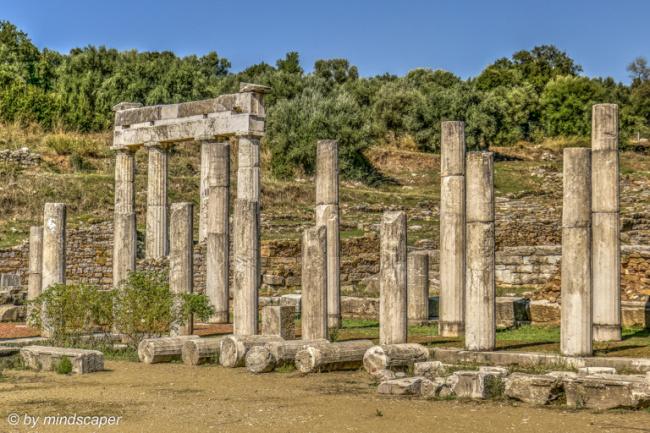 Columns of Gymnasion and Bathro tou Thisea - Ancient Messene
