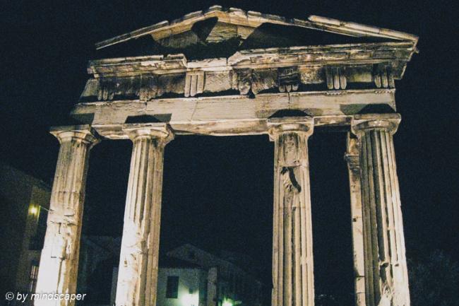 Gate of Athena Archegetis by Night - Romaiki Agora - Plaka -Athe