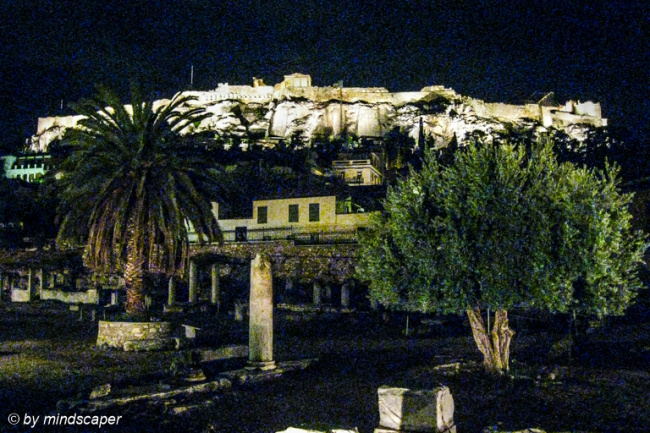 Akropolis by Night, With Romaiki Agora in Front - Plaka - Athens