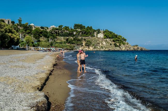 Zanga Beach with View to Eleistria and Monastery