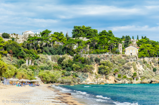 Zanga Beach With Monastery & Eleistria - Koroni Beaches
