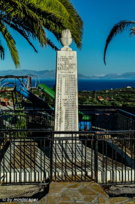World Wars Memorial next to Agios Vasilios - Vasilitsi