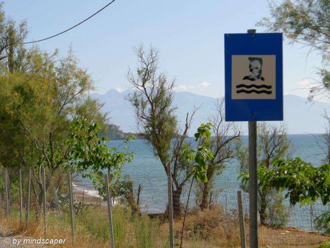 Beach Traffic Sign at Memi Beach