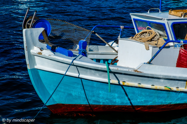 Bow of Small Blue Fisherboat