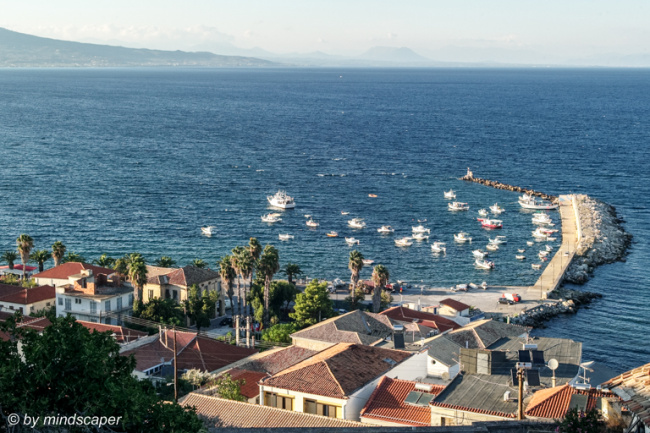Koroni Harbour in the Evening Light from Above