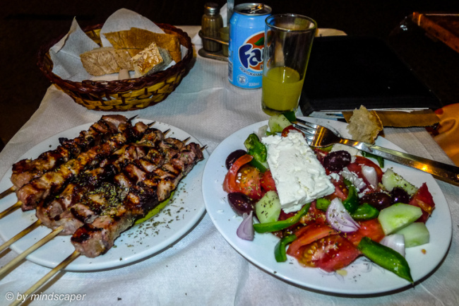 Souvlaki & Greek Salat at I Thraka