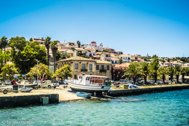 Koroni Skyline from Harbour with Archontiko