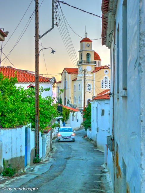 Small Alley and Agios Vasilios in the Evening - Vasilitsi