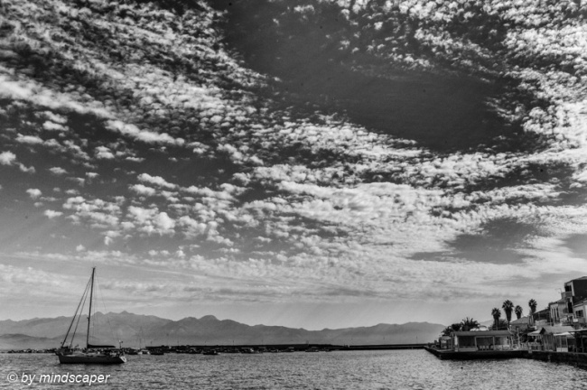 Cloudtastic Moring at hte Harbour - Koroni in Black & White