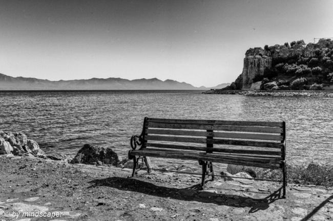 Bench with Kastro & Mani - Koroni in Black & White