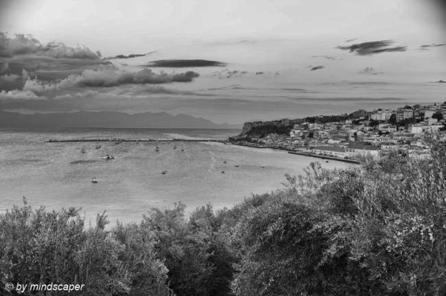 Koroni Skyline & Harbour from Entrance in Black & White