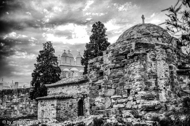 Agia Sophia Byzantine Church - Koroni in Black & White