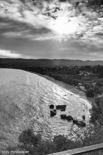 Cloudy Afternoon Sun seen from Eleistria - Koroni in Black & Whi