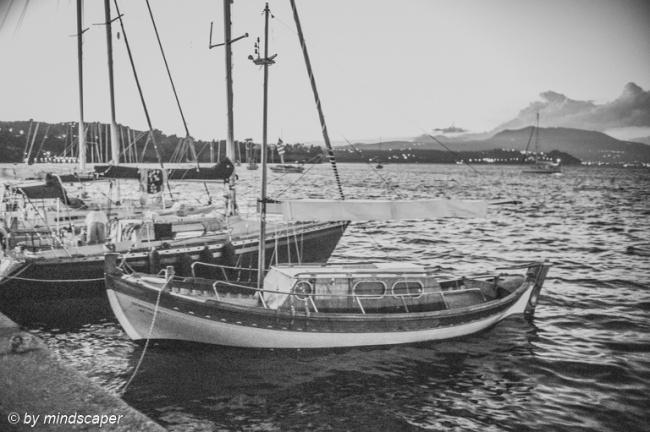 Eveningrise with Sailing Boats - Koroni in Black & White