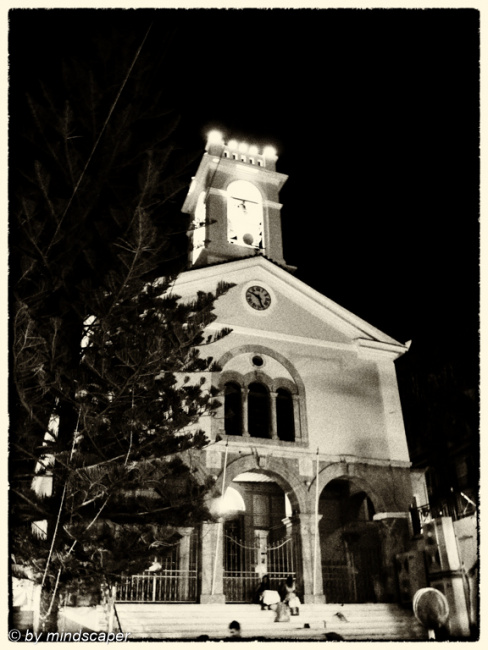 Agios Dimitrios at Night in Black & White
