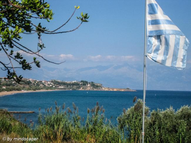 Panoramic View to Koroni with Greek Flag