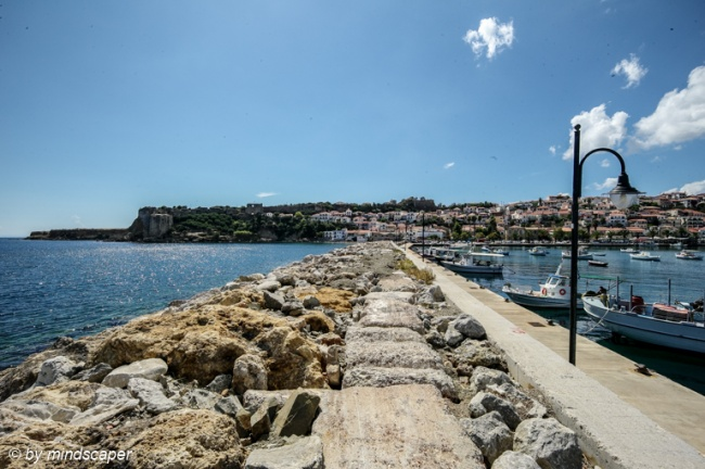 Koroni Harbour and Kastro with Skyline From top of Mole - Sea St