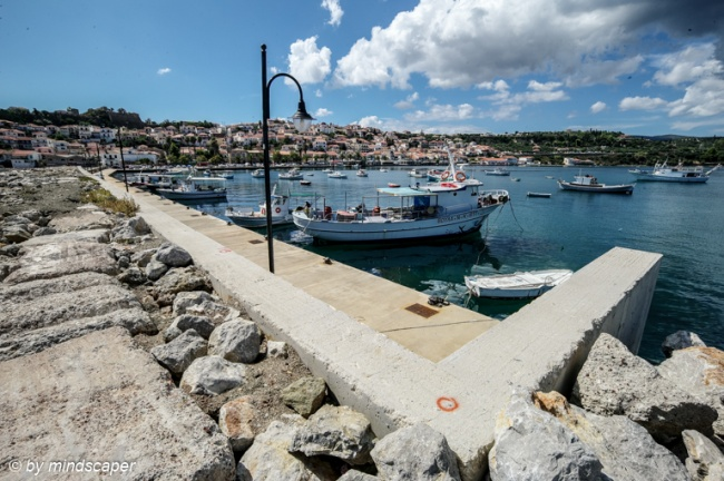 Koroni Harbour with Skyline From top of Mole - Sea Story