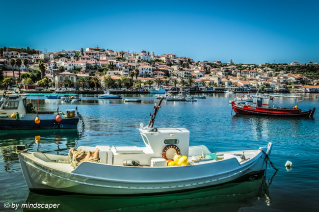 Fisherboats with Koroni Skyline - Sea Stroy
