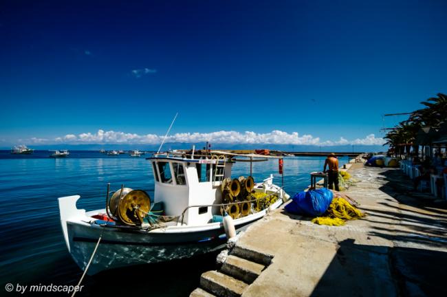 White Fisherboat in Koroni Harbour