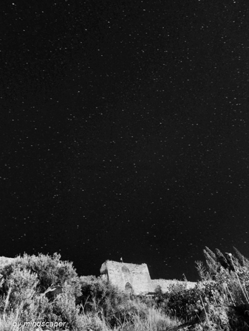 Kastro Main Gate under the Stars - Koroni by Night in Black & Wh